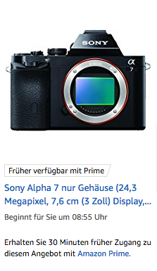Sony A7 Angebot Amazon