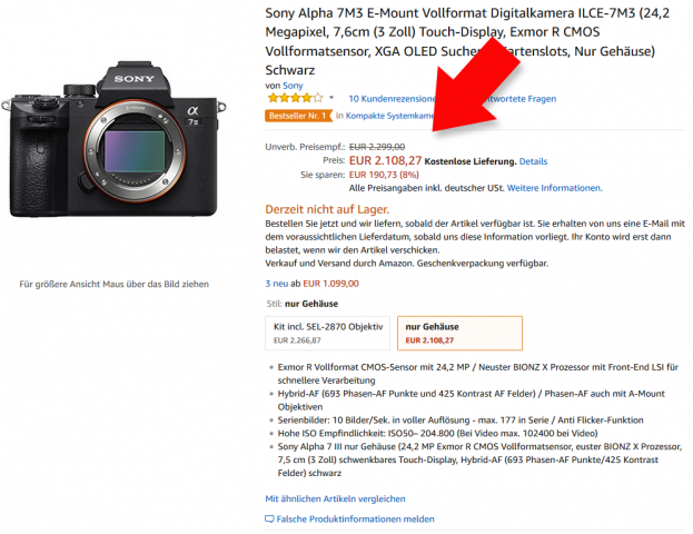 Sony A7 III Amazon Angebot