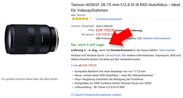 Tamron A036 28-75mm F2.8 Sony FE - Angebot bei Amazon