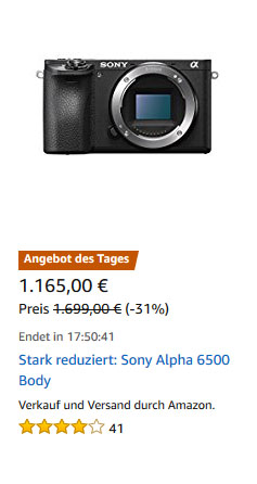 Sony A6500 Angebot KW35
