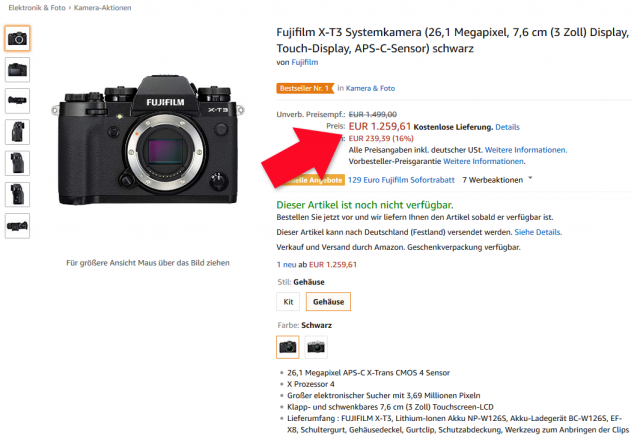 Fujifilm X-T3 Angebot Amazon