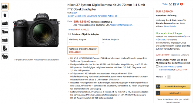 Nikon Z7 Angebot bei Amazon Kit