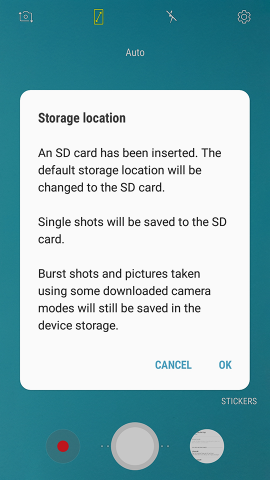 Samsung Galaxy Camera App Storage Location Memory Card