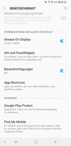 Samsung Galaxy S9 Plus Always On Display Einstellungen