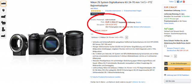 Nikon Z6 Angebot Rabatt Amazon
