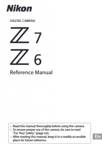 Nikon Z6 Z7 Reference Manual Cover Sheet