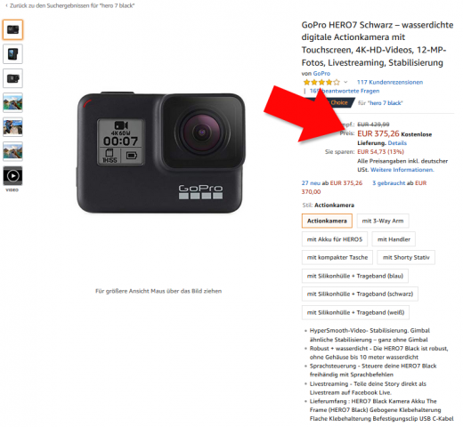 GoPro Hero 7 Black Amazon Angebot