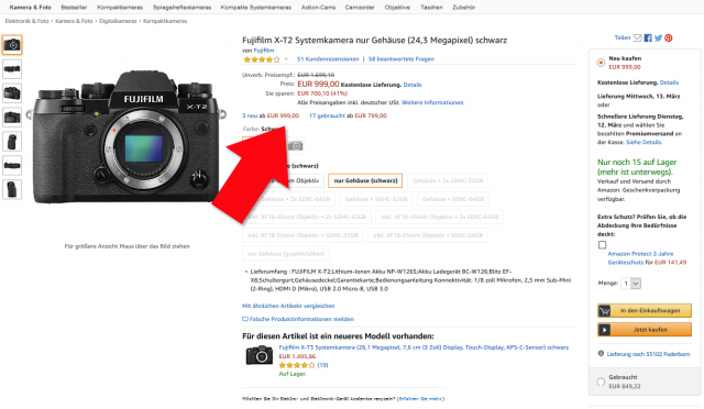 Fujifilm X-T2 Amazon 999 Euro