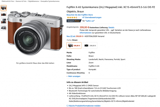Fuji X-A5 Black Friday Amazon