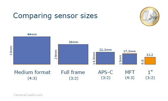 Infographic: DMC TZ101 comparing sensor sizes