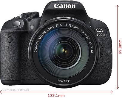 Canon EOS 700D Dimensions (Width / Height)
