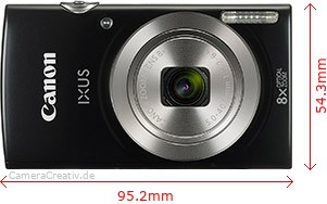 Canon Ixus 185 Dimensions (Width / Height)