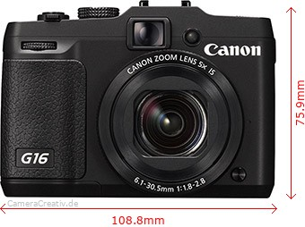 Canon PowerShot G16 Dimensions (Width / Height)