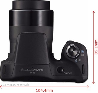 Canon PowerShot SX420 IS Dimensions (Width / Depth)