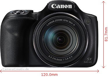 Canon PowerShot SX540 HS Dimensions (Width / Height)