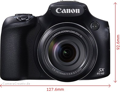 Canon PowerShot SX60 HS Dimensions (Width / Height)
