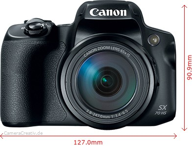 Canon PowerShot SX70 HS Dimensions (Width / Height)