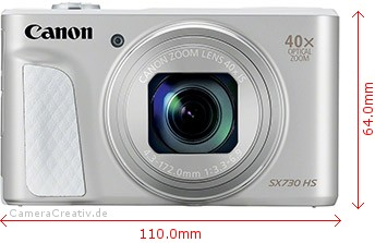 Canon PowerShot SX730 HS Dimensions (Width / Height)