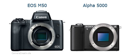 EOS M50 vs Alpha 5000 - Side by side