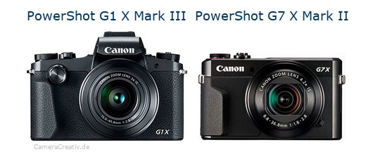 Digitalkamera Vergleich: Canon powershot g1 x mark iii oder Canon powershot g7 x mark ii