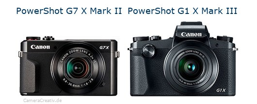 Digitalkamera Vergleich: Canon powershot g7 x mark ii oder Canon powershot g1 x mark iii