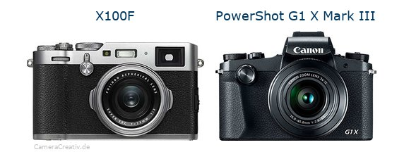 Fujifilm x100f vs Canon powershot g1 x mark iii