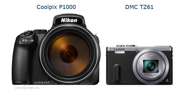 Nikon coolpix p1000 vs Panasonic dmc tz 61