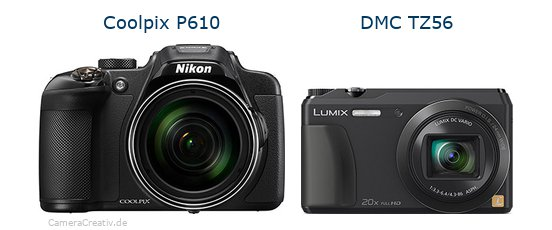 Nikon coolpix p610 vs Panasonic dmc tz 56