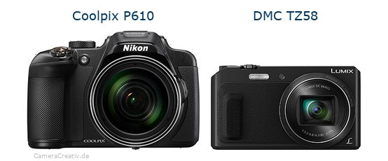 Nikon coolpix p610 vs Panasonic dmc tz 58