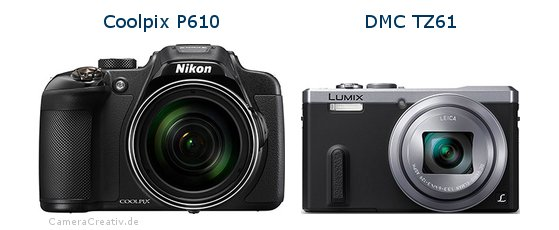 Nikon coolpix p610 vs Panasonic dmc tz 61