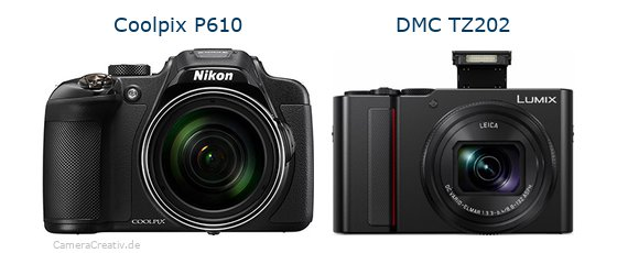 Nikon coolpix p610 vs Panasonic lumix tz 202