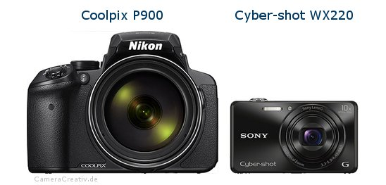 Coolpix P900 vs Cyber-shot WX220 - Side by side