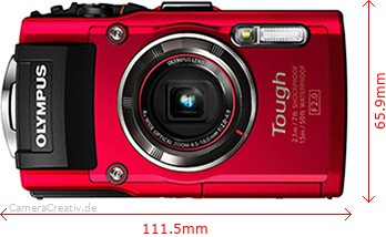 Olympus Tough TG-4 Dimensions (Width / Height)