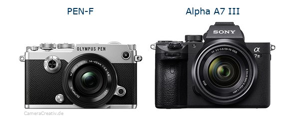 Olympus pen f vs Sony alpha a7 iii