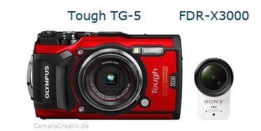 Tough TG-5 vs FDR-X3000 - Side by side