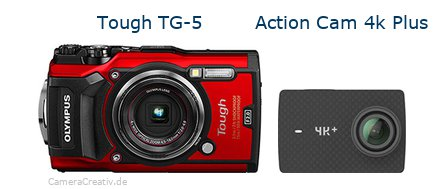 Tough TG-5 vs Action Cam 4k Plus - Side by side