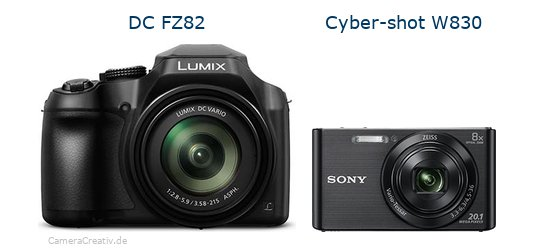 Panasonic dc fz 82 vs Sony w830