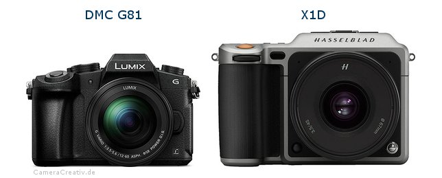 Panasonic dmc g 81 vs Hasselblad x1d