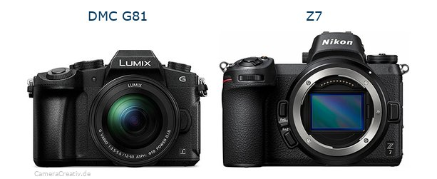 Panasonic dmc g 81 vs Nikon z7