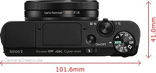 Sony Cyber-shot RX100 V (A) Abmessungen (Breite/Tiefe)