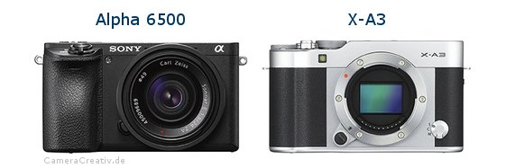 Sony alpha 6500 vs Fujifilm x a3