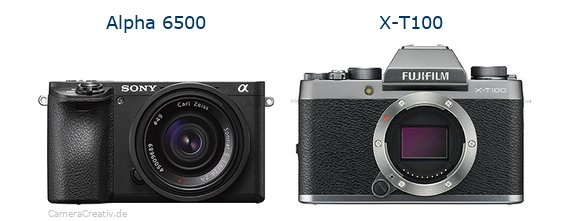 Sony alpha 6500 vs Fujifilm x t100