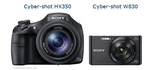 Sony cyber shot hx350 vs Sony w830