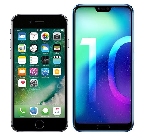 Smartphonevergleich: Iphone 6s oder Honor 10