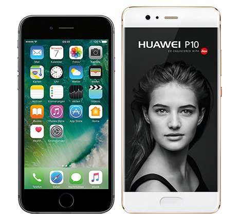 Smartphonevergleich: Iphone 6s oder Huawei p10