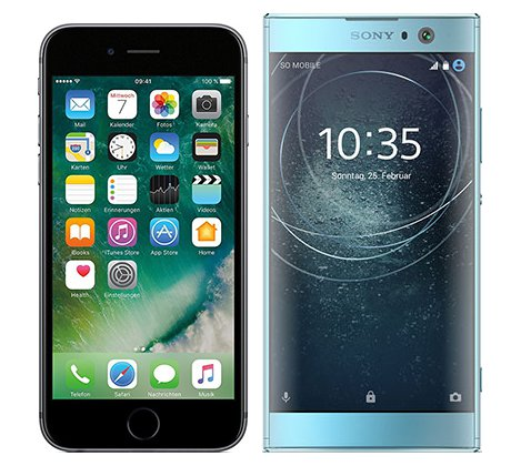 Smartphonevergleich: Iphone 6s oder Sony xperia xa2