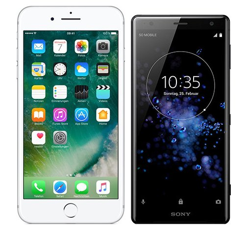 Smartphonevergleich: Iphone 7 plus oder Sony xperia xz2