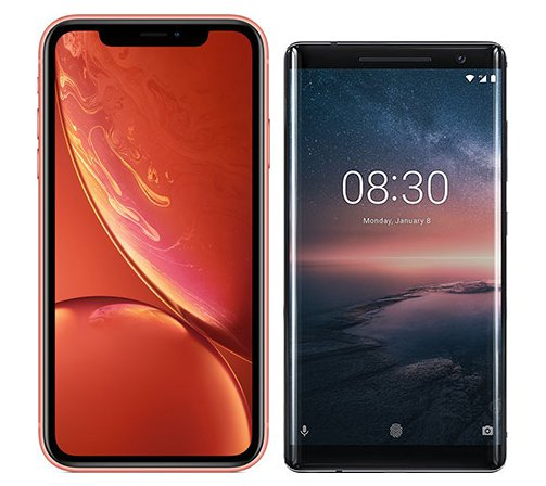 Smartphone Comparison: Iphone xr vs Nokia 8 sirocco