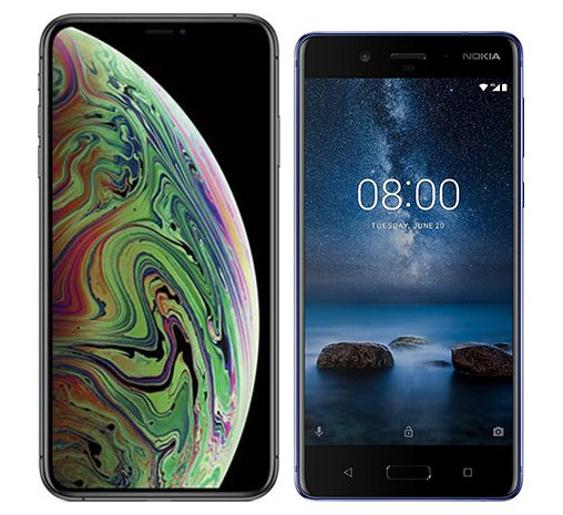 Smartphone Comparison: Iphone xs max vs Nokia 8