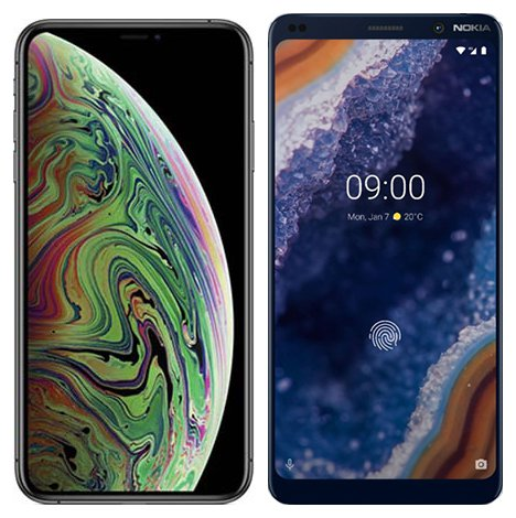 Smartphone Comparison: Iphone xs max vs Nokia 9